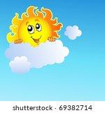 sun holding cloud on blue sky   ... | Shutterstock .eps vector #69382714