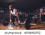 fit people preparing to... | Shutterstock . vector #693840352
