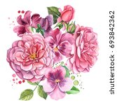 roses and pansies  watercolor... | Shutterstock . vector #693842362