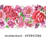roses and pansies  watercolor... | Shutterstock . vector #693842386
