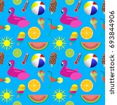 colorful summer seamless... | Shutterstock . vector #693844906