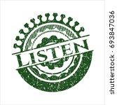 green listen distress rubber... | Shutterstock .eps vector #693847036