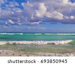 caribbean sea beach in playa... | Shutterstock . vector #693850945