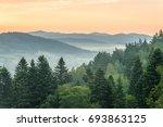 Stock photo sunrise in mountains near ustrzyki dolne 693863125