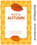 blank poster on autumn theme... | Shutterstock .eps vector #693866506