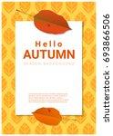 blank poster on autumn theme... | Shutterstock .eps vector #693866506