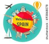 spanish famous landmarks around ... | Shutterstock .eps vector #693868078