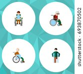 flat icon handicapped set of... | Shutterstock .eps vector #693870502