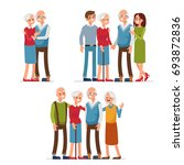 elderly people with friends and ... | Shutterstock .eps vector #693872836