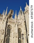 The Duomo, gothic cathedral of Milan, restoration work, Lombardy, Italy - stock photo