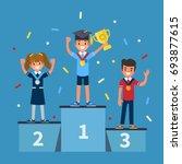 kids winners standing on podium.... | Shutterstock .eps vector #693877615