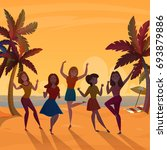 young girls dancing on beach at ... | Shutterstock .eps vector #693879886
