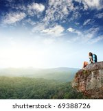 young woman with backpack... | Shutterstock . vector #69388726