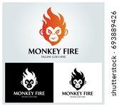 monkey fire logo design... | Shutterstock .eps vector #693889426
