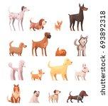 dog breeds retro cartoon icons... | Shutterstock .eps vector #693892318