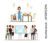 motherhood 2 retro cartoon work ... | Shutterstock .eps vector #693892396