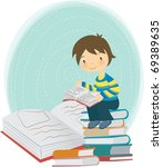 reading book together | Shutterstock .eps vector #69389635