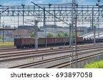 boxcars on railway tracks | Shutterstock . vector #693897058