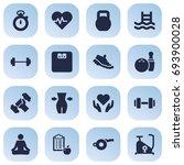 set of 16 training icons set... | Shutterstock .eps vector #693900028