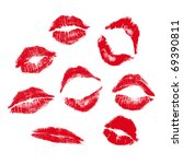 realistic lip mark in jpg and... | Shutterstock . vector #69390811