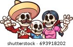 mexican skeleton family. vector ... | Shutterstock .eps vector #693918202