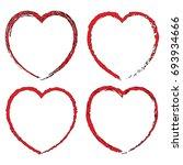 red black heart set. happy... | Shutterstock .eps vector #693934666
