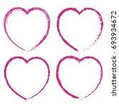 pink red heart set. happy... | Shutterstock .eps vector #693934672