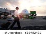 commercial aircraft pilot... | Shutterstock . vector #693952432