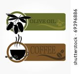 tags with olive and coffee cup... | Shutterstock .eps vector #69396886