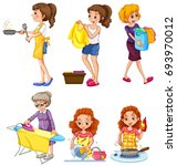 women doing different chores... | Shutterstock .eps vector #693970012