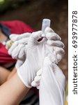 veterinary drop vaccine for... | Shutterstock . vector #693977878