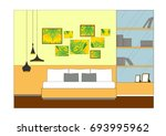 interior design elevation vector | Shutterstock .eps vector #693995962