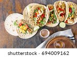 corn tortillas with grilled...   Shutterstock . vector #694009162