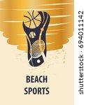 beach sport template logo with... | Shutterstock .eps vector #694011142