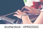 young asian teenage girl having ... | Shutterstock . vector #694023262