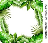 tropical hawaii leaves palm... | Shutterstock . vector #694023592