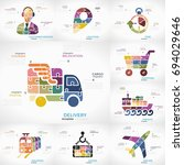 delivery infographic collection ... | Shutterstock .eps vector #694029646