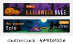 set of halloween sale banners.... | Shutterstock .eps vector #694034326