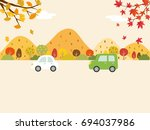 a landscape driving the autumn... | Shutterstock .eps vector #694037986