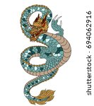 colorful japanese dragon tattoo ... | Shutterstock .eps vector #694062916