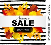 autumn sale on a bright autumn... | Shutterstock .eps vector #694081732
