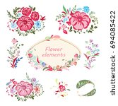 floral elements. | Shutterstock .eps vector #694085422