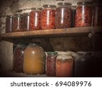 Old Preserve Jars On Shelves I...
