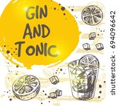 gin and tonic cocktail card.... | Shutterstock .eps vector #694096642