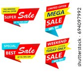super sale  mega sale  weekend... | Shutterstock . vector #694097992