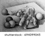 drawing illustration of gypsum... | Shutterstock . vector #694099045