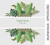 tropical leaves card vector... | Shutterstock .eps vector #694101382