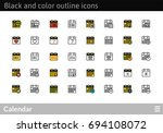 black and color outline icons...