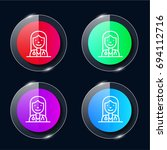 doctor four color glass button...
