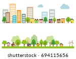 ecology green city  town and... | Shutterstock .eps vector #694115656
